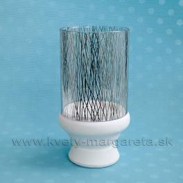 SUPER CENA - 50% Svietnik sklo Mirror s keramikou bielo-strieborný 23 cm