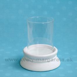 SUPER CENA - 50% Svietnik sklo s keramikou biely číry 14 cm