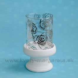 SUPER CENA - 50% Svietnik sklo ROSE Mirror s keramikou bielo-strieborný 16 cm