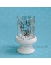 SUPER CENA - 50% Svietnik sklo ROSE Mirror s keramikou bielo-strieborný 23 cm