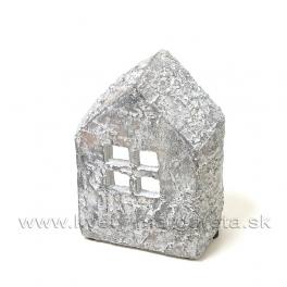 Cementový polodomček - svietnik sivý 14 cm