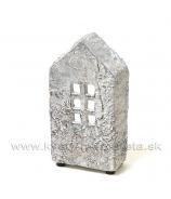 Cementový polodomček - svietnik sivý 21 cm