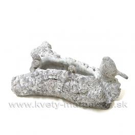 Cementový obal, pítko - starý kmeň s vtáčikom sivý 28 cm