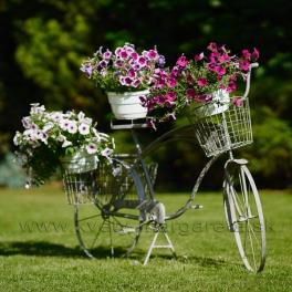 Retro bicykel stojan na kvety sivý 145 cm