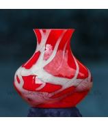 Váza Sklo červeno-biely melír 21cm - AKCIA !!!