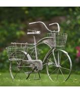 Retro bicykel stojan na kvety biely 100 cm
