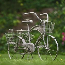 Retro bicykel stojan na kvety sivý 100 cm