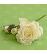 Ruža krátky pick kvet a 2 puky krémová 12cm