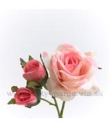 Ruža krátky pick kvet a 2 puky rúžový 12cm