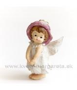 Dievčatko anjelik lupienkový klobúčik stojace Malinová 8cm