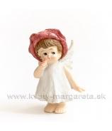 Dievčatko anjelik lupienkový klobúčik stojace Rúžová 8cm