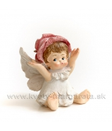 Dievčatko anjelik lupienkový klobúčik sediace Rúžová 6 cm