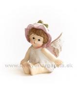 Dievčatko anjelik lupienkový klobúčik sediace Malinová 6 cm