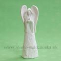 Anjel s vtáčikom porcelánový svietiaci LED 16 cm