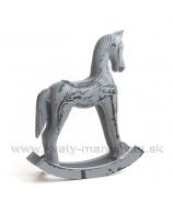 Koník hojdací Antique sivá patina 30 cm - AKCIA - 30%