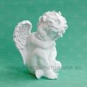 Anjel sediaci opretý o koleno matný Biely 18 cm
