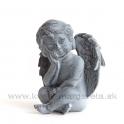 Anjel sediaci s podopretou hlavou Antik kovová imitácia 12cm