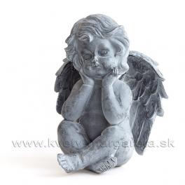 Anjel sediaci s hlavou v dlaniach Antik kovová imitácia 18cm
