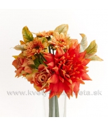 Jesenné Dálie s ružami a mini gerberami marhuľovo-oranžová 28cm