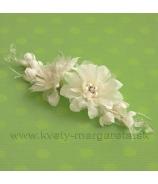 Saténové kvety BIJOU - stredový diel krémový 15cm