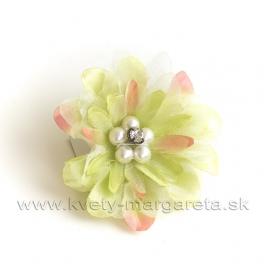 Dália s perlami satén na patentnom špendlíku Svetlo-zelená 6cm