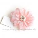 Dália s perlami satén na patentnom špendlíku Rúžová 6cm