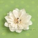 Dália s perlami satén na patentnom špendlíku Krémová 10cm
