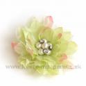 Dália s perlami satén na kovovom štipci Svetlo-zelená 10cm