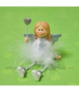 Dievčatko anjelik SNOWFLAKE so srdiečkom na paličke 11cm