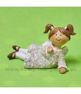 Dievčatko anjelik copaté ležiace na boku 8cm