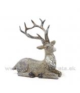 Jelenček ležiaci glitrovaný sivo-hnedý 11cm