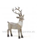 Jelenček stojaci glitrovaný sivo-hnedý 14cm