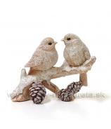 Párik vtáčikov na vetvičke so šiškami glitrované naturál 9cm