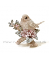 Vtáčik na zasneženej vetvičke s kvetmi hnedý 9cm