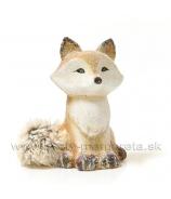 Líška keramická s huňatým chvostom glitrovaná 17 cm
