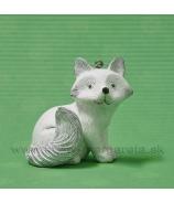 Polárna líška na zavesenie bielo-strieborná 6cm