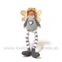 Anjel úplet kučeravý na posadenie modro-sivý 16cm