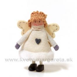Anjelik kučeravý vo filcovom kabátiku krémový 11 cm