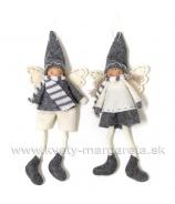 Anjelici dievčatko a chlapec z filcu bielo-sivý