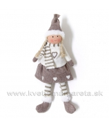 Copaté dievčatko so srdiečkom úplet a filc 29cm kakaovo-biela