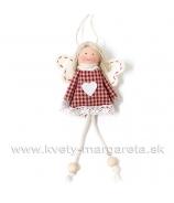 Dievčatko anjelik v šatôčkach s krajkou červeno-biele 18cm