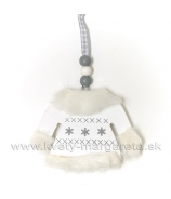 Derevená ozdoba svetrík biely s kožušinou 9 cm