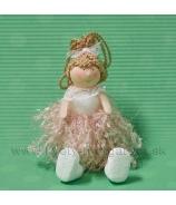 Závesné dievčatko v strapčekových šatách rúžové 15cm