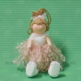 Závesné dievčatko v strapčekových šatách starorúžová 15cm