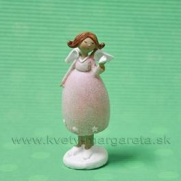 Anjel dievčatko so srdcom na dlani rúžové šaty 10cm