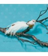Vtáčik hnedá čiapočka biely chvost 16cm