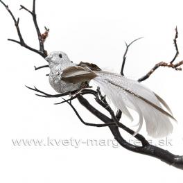 Vtáčik strieborné telo s flitrami a sivý chvost 14 cm