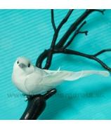 Vtáčik penový PU biely a sivá hlavička 11 cm