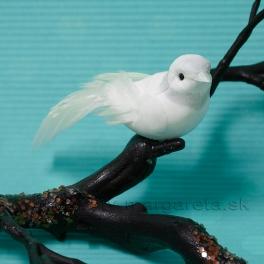 Vtáčik penový PU biely a glitrová hlavička s golierikom 11 cm