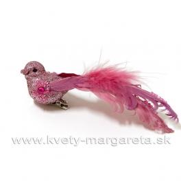 Vtáčik Bijou kvietok rúžový s glitrom 13cm